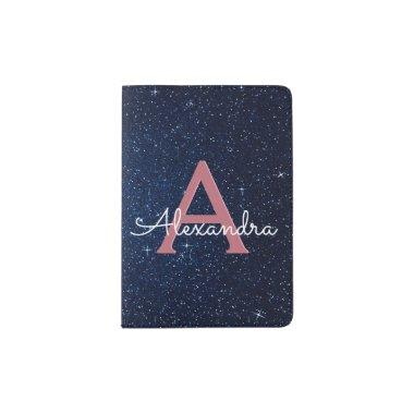 Navy Blue & Rose Gold Sparkle Glitter Monogram Passport Holder