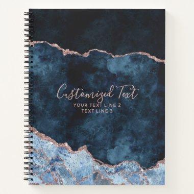 Navy Blue & Rose Gold Watercolor Marble Agate Gilt Notebook