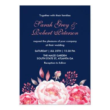 Navy Blue Roses Stripes Floral Wedding Invitations