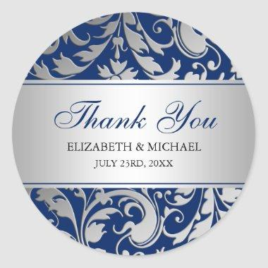 Navy Blue Silver Damask Swirls Wedding Thank You Classic Round Sticker