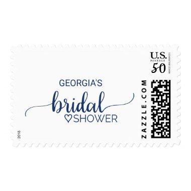 Navy Blue Simple Calligraphy  Postage