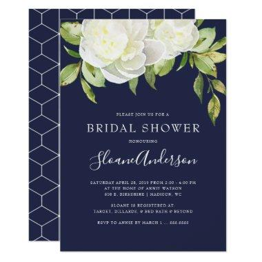 Navy Blue Spring Floral Peony Bridal Shower Invitations