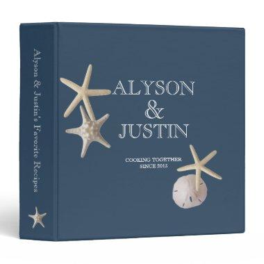 Navy Blue Starfish and Sand Dollar Recipes Binder