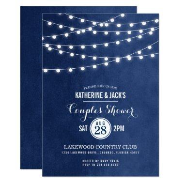 Navy Blue String Lights Couples Shower