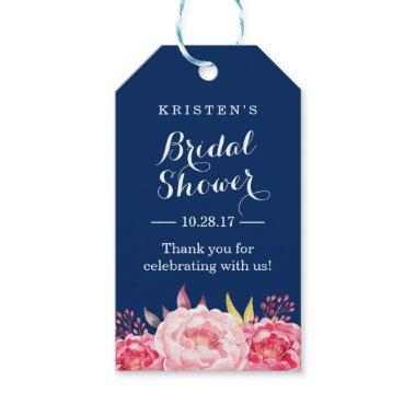 Navy Blue Stripes Floral Bridal Shower Thank You Gift Tags