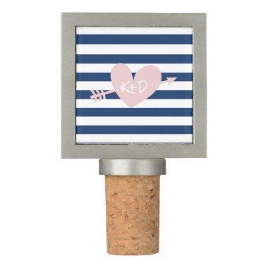 Navy Blue Stripes Heart & Arrow Nautical Wedding Wine Stopper
