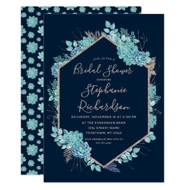 Navy Blue Succulents Bridal Shower Invitations