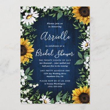 Navy Blue Sunflower Rustic Country Bridal Shower Invitations