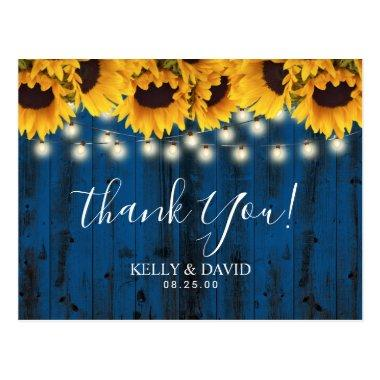 Navy Blue Sunflowers Rustic Wedding Thank You PostInvitations