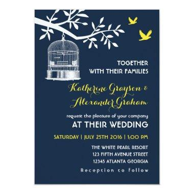 Navy Blue Vintage Bird Cage Wedding Invitations