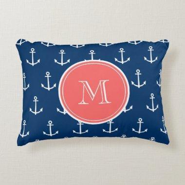 Navy Blue White Anchors Pattern, Coral Monogram 2 Decorative Pillow