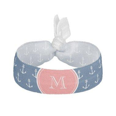 Navy Blue White Anchors Pattern, Coral Monogram 2 Elastic Hair Tie