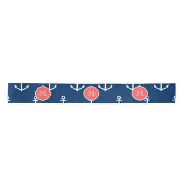 Navy Blue White Anchors Pattern, Coral Monogram 2 Satin Ribbon