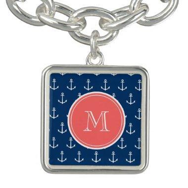 Navy Blue White Anchors Pattern, Coral Monogram Bracelet