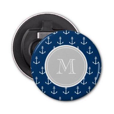 Navy Blue White Anchors Pattern, Gray Monogram Bottle Opener