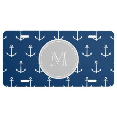 Navy Blue White Anchors Pattern, Gray Monogram License Plate