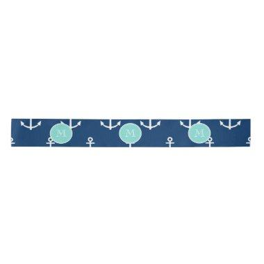 Navy Blue White Anchors Pattern, Mint Green Monogr Satin Ribbon