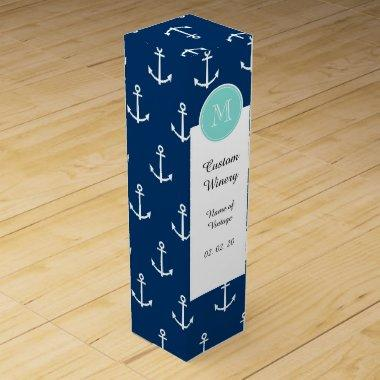 Navy Blue White Anchors Pattern, Mint Green Monogr Wine Box
