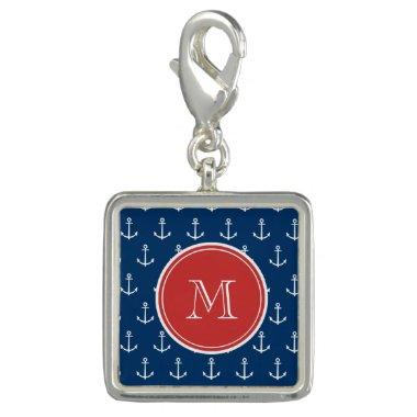 Navy Blue White Anchors Pattern, Red Monogram Charms