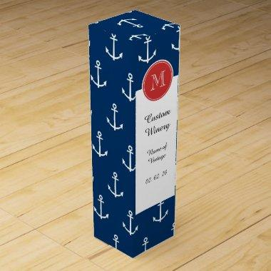 Navy Blue White Anchors Pattern, Red Monogram Wine Box