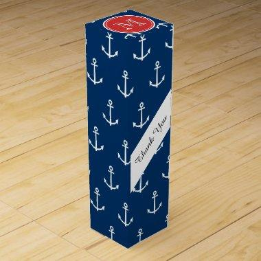 Navy Blue White Anchors Pattern, Red Monogram Wine Gift Box