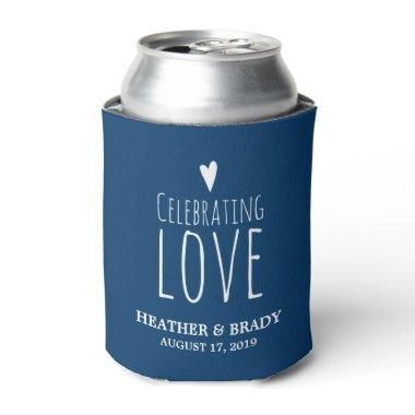 Navy Blue White Heart Celebrating Love Wedding Can Cooler