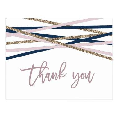 Navy Blush and Gold Streamers Thank You Post