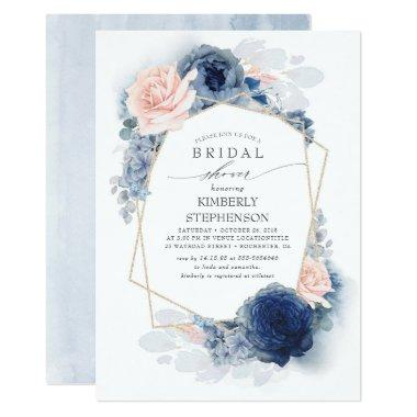 Navy Blush Dusty Blue Floral Modern Bridal Shower Invitations