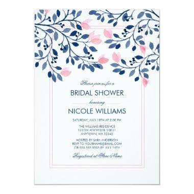 Navy Blush Pink Floral Watercolor Bridal Shower Invitations