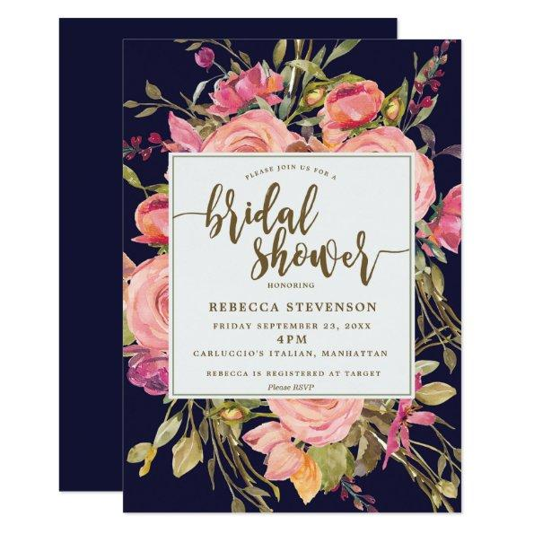 navy boho wild flower bridal shower Invitations