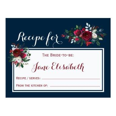 Navy burgundy floral bride to be recipe Invitations
