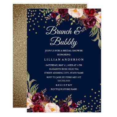 Navy Burgundy Floral Confetti Brunch and Bubbly Invitations