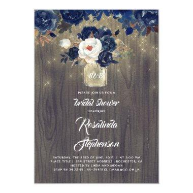 Navy Floral Mason Jar Rustic