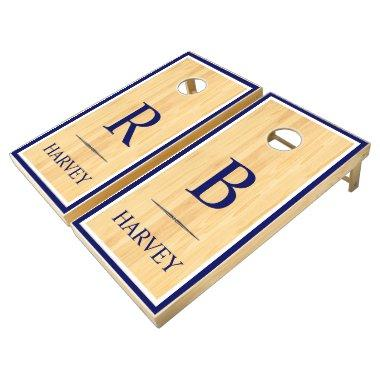 Navy Initials & Name Rustic Wood Wedding Games