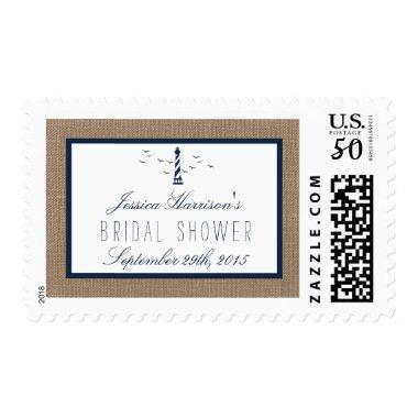 Navy Lighthouse On Burlap Nautical  Postage