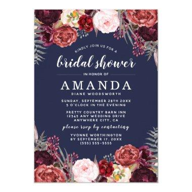 Navy Marsala Peony Fall Bridal Shower Invitations