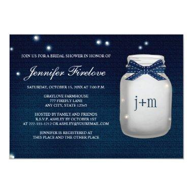 Navy Monogrammed Firefly Mason Jar Bridal Shower Invitations