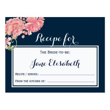 Navy pink blush floral bride to be recipe