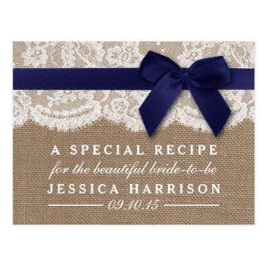 Navy Ribbon On Burlap & Lace Bridal Shower Recipe PostInvitations