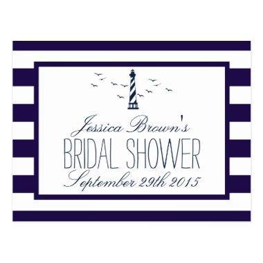 Navy Stripe Lighthouse Bridal Shower Recipe Invitations