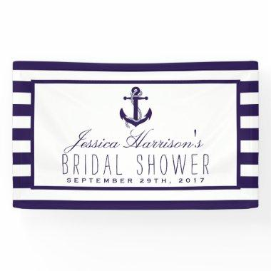Navy Stripe Nautical Anchor  Banner