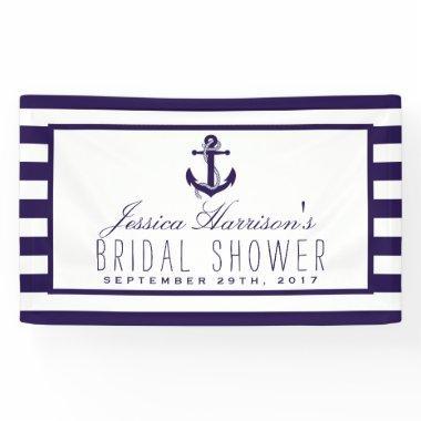 Navy Stripe Nautical Anchor  Banner