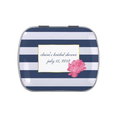 Navy Stripe & Pink Peony  Favor Tin Jelly Belly Tins