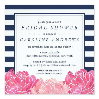 Navy Stripe & Pink Peony Bridal Shower Invitations