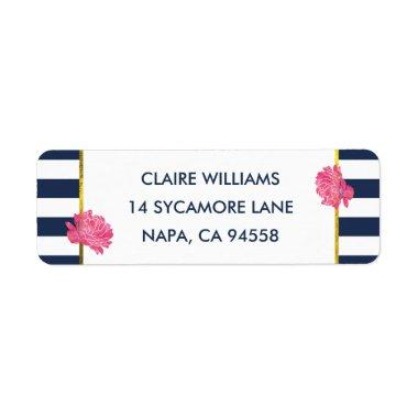 Navy Stripe & Pink Peony Return Address Labels