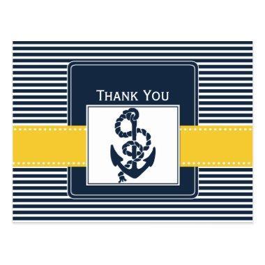 navy stripes,anchor, nautical wedding Thank you PostInvitations