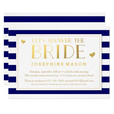 Navy Stripes Gold Hearts
