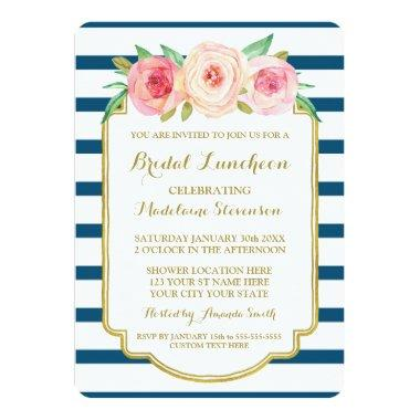 Navy Stripes Gold Pink Floral Bridal Lunch