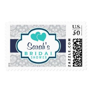 Navy, Turquoise, Gray Damask  Postage