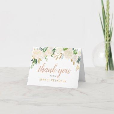 Neutral Blooms Green Floral Blush Script Monogram Thank You Invitations